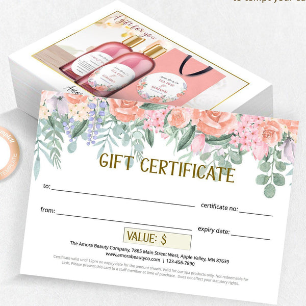 Coral pink rose gift certificate, printable template, beauty cosmetics spa hairdresser business