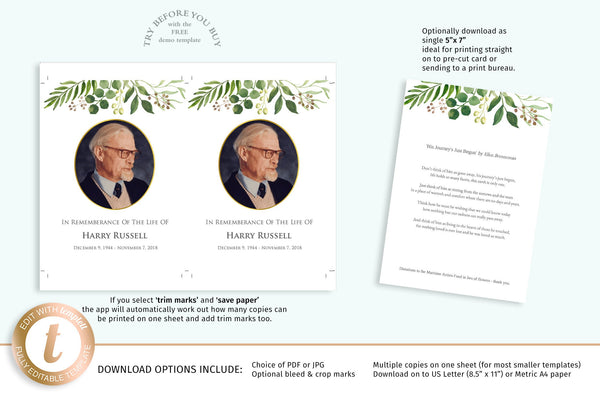 Printable funeral memory photo keepsake card, easy to edit, natural greenery