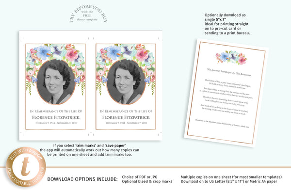 Funeral memory or prayer keepsake card, easy to edit template, hibiscus flowers & rose gold