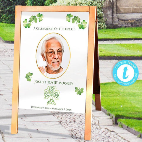 Irish funeral welcome sign, faux gold photo frame, shamrocks and Celtic cross