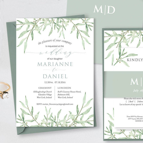 DIY pastel sage greenery printable wedding invitation suite,