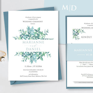 Dusky blue greenery wedding invitation & enclosure printable templates
