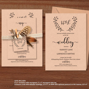 Monogram rustic wedding invitation template with interlocking loveheart initials