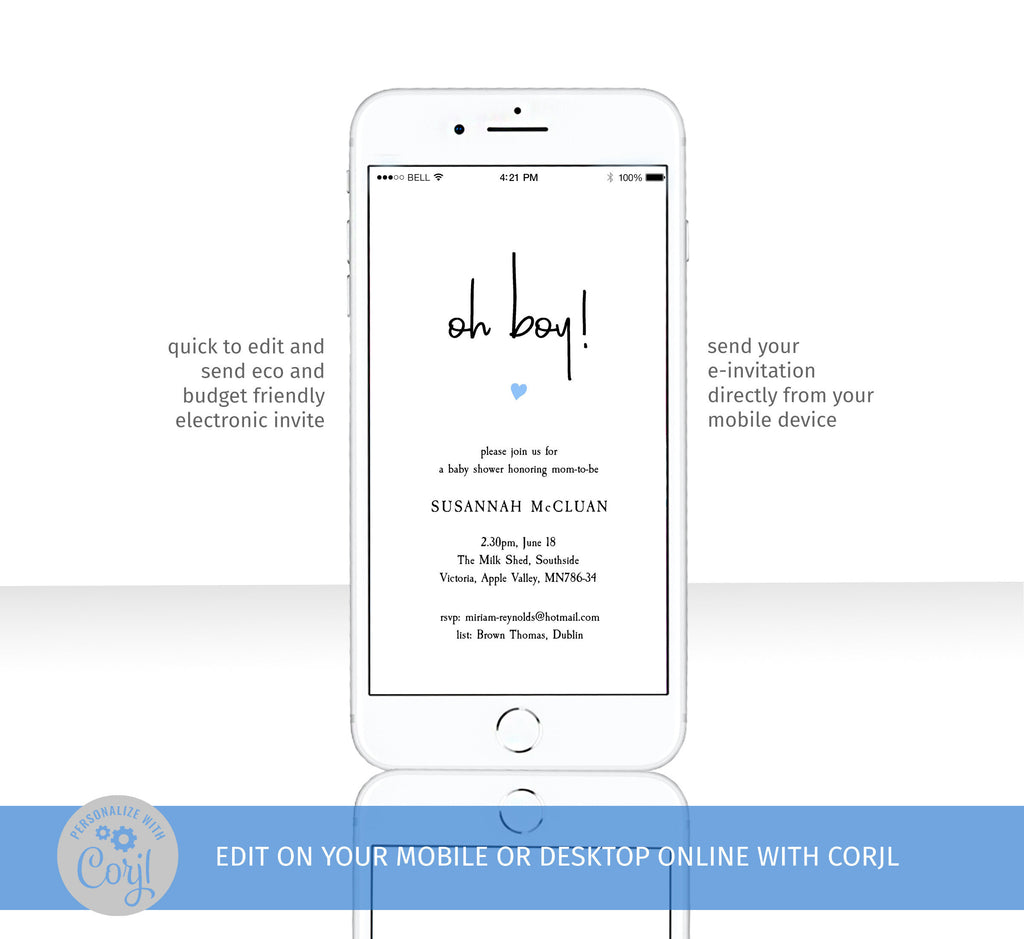 Electronic Baby Boy shower invitation cellphone template, cute blue