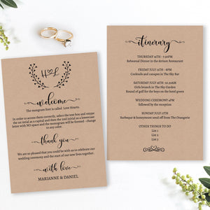 Charming rustic wedding itinerary & welcome card template