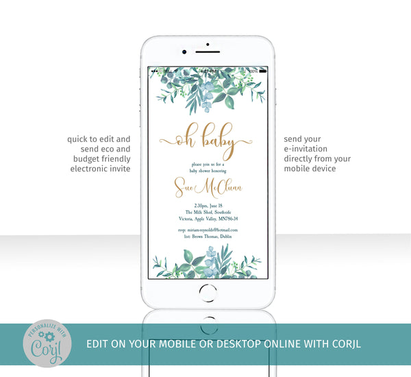 Gender neutral oh baby shower electronic evite, elegant dusty blue greenery, send from your mobile
