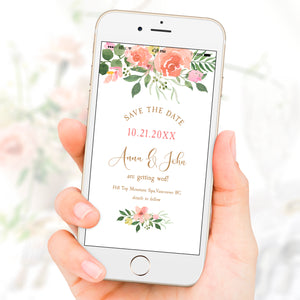 Blush Pink Watercolor Rose Save The Date Wedding eVite Template