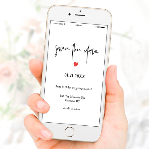 Minimalist Save The Date Wedding eVite Template