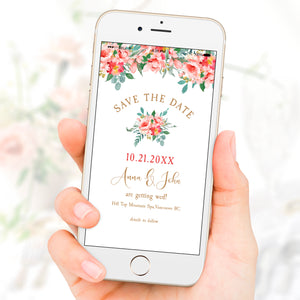 Coral Pink Rose Save The Date Wedding eVite Electronic Template