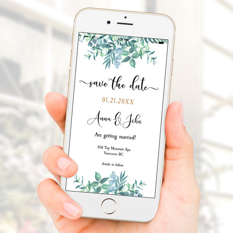 Dusty Blue Greenery Save The Date Winter Wedding eVite Template