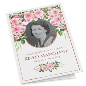 Printable folding funeral program, pink Japanese cherry blossom