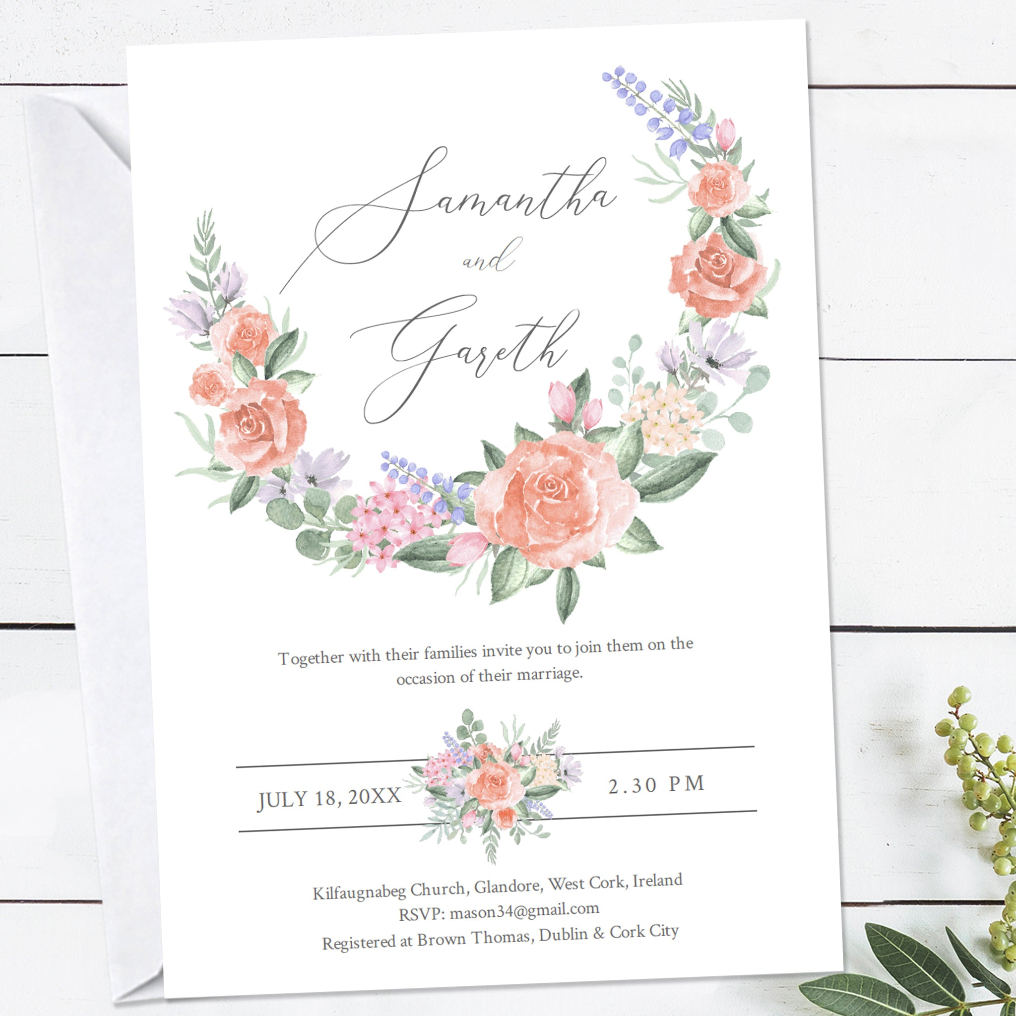 Wedding invitation template with a Victorian vintage pastel rose watercolor