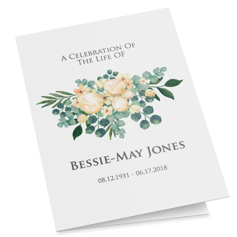 Editable folding funeral program with white bouquet