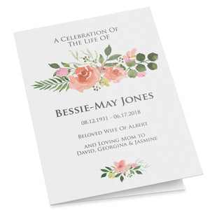 Folding Funeral program template with blush pink roses