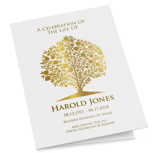 Printable funeral program template with a gold pomegranate tree