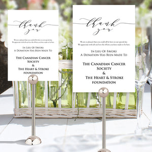 printable wedding table in lieu of favors template