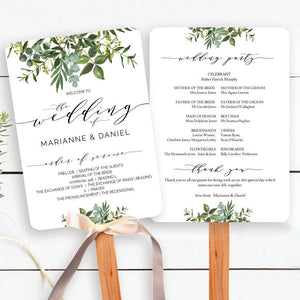 Chic wedding program fan with greenery watercolors and modern calligraphy
