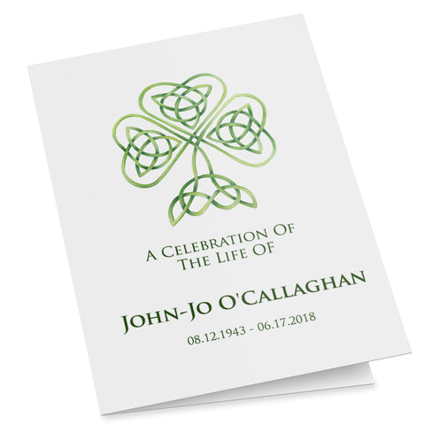 Irish Catholic shamrock printable funeral template