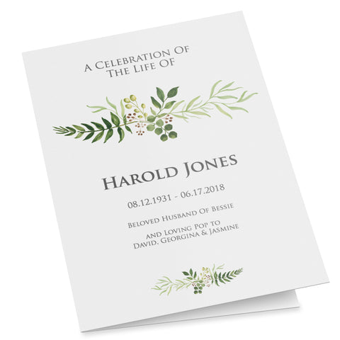 Folded funeral program template for father or grandfather