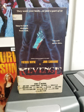 Revenge (VHS) - The Crimson Screen Collectibles, horror movie collectibles, horror movie toys, horror movies, blu-rays, dvds, vhs, NECA Toys, Mezco Toyz, Pop!, Shout Factory, Scream Factory, Arrow Video, Severin Films, Horror t-shirts