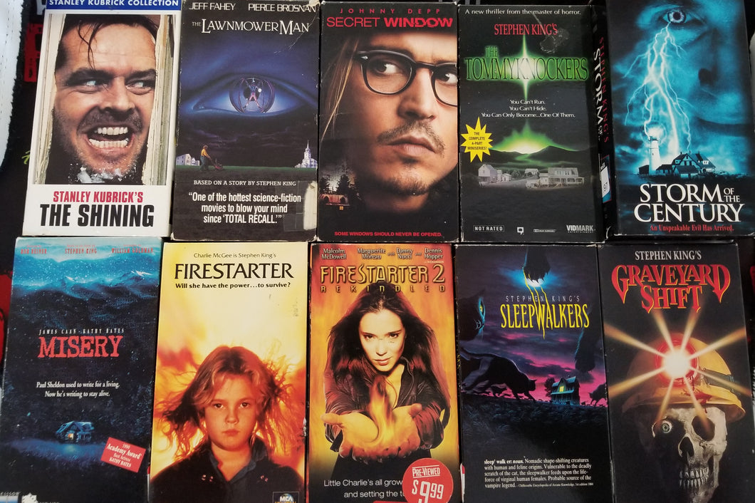 Stephen King (VHS Lot) - The Crimson Screen Collectibles, horror movie collectibles, horror movie toys, horror movies, blu-rays, dvds, vhs, NECA Toys, Mezco Toyz, Pop!, Shout Factory, Scream Factory, Arrow Video, Severin Films, Horror t-shirts