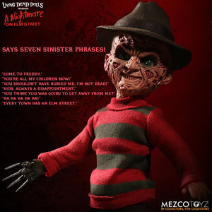 Freddy Krueger - Living Dead Doll (IN STOCK NOW!) - The Crimson Screen Collectibles, horror movie collectibles, horror movie toys, horror movies, blu-rays, dvds, vhs, NECA Toys, Mezco Toyz, Pop!, Shout Factory, Scream Factory, Arrow Video, Severin Films, Horror t-shirts