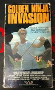 Golden Ninja Invasion (VHS, 1988) OOP Super Rare Trans World Video - The Crimson Screen Collectibles, horror movie collectibles, horror movie toys, horror movies, blu-rays, dvds, vhs, NECA Toys, Mezco Toyz, Pop!, Shout Factory, Scream Factory, Arrow Video, Severin Films, Horror t-shirts