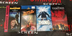 John Carpenter VHS Lot - The Crimson Screen Collectibles, horror movie collectibles, horror movie toys, horror movies, blu-rays, dvds, vhs, NECA Toys, Mezco Toyz, Pop!, Shout Factory, Scream Factory, Arrow Video, Severin Films, Horror t-shirts