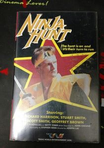 Ninja Hunt (VHS Trans World Video; VERY RARE CLAMSHELL) - The Crimson Screen Collectibles, horror movie collectibles, horror movie toys, horror movies, blu-rays, dvds, vhs, NECA Toys, Mezco Toyz, Pop!, Shout Factory, Scream Factory, Arrow Video, Severin Films, Horror t-shirts