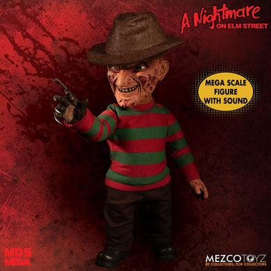 A Nightmare on Elm Street: Mega Scale Talking Freddy Krueger - The Crimson Screen Collectibles, horror movie collectibles, horror movie toys, horror movies, blu-rays, dvds, vhs, NECA Toys, Mezco Toyz, Pop!, Shout Factory, Scream Factory, Arrow Video, Severin Films, Horror t-shirts