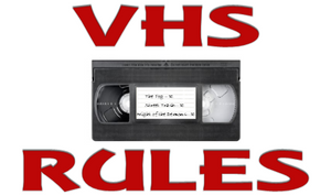 VHS RULES (sticker) - The Crimson Screen Collectibles, horror movie collectibles, horror movie toys, horror movies, blu-rays, dvds, vhs, NECA Toys, Mezco Toyz, Pop!, Shout Factory, Scream Factory, Arrow Video, Severin Films, Horror t-shirts