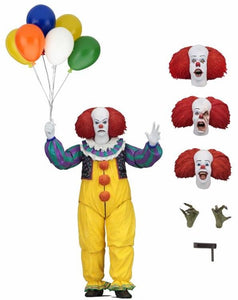 "IT - 7"" Scale Action Figure - Ultimate Pennywise (1990 Miniseries) IN STOCK NOW! - The Crimson Screen Collectibles, horror movie collectibles, horror movie toys, horror movies, blu-rays, dvds, vhs, NECA Toys, Mezco Toyz, Pop!, Shout Factory, Scream Factory, Arrow Video, Severin Films, Horror t-shirts"