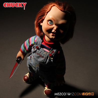 Child's Play: Talking Sneering Chucky - The Crimson Screen Collectibles, horror movie collectibles, horror movie toys, horror movies, blu-rays, dvds, vhs, NECA Toys, Mezco Toyz, Pop!, Shout Factory, Scream Factory, Arrow Video, Severin Films, Horror t-shirts