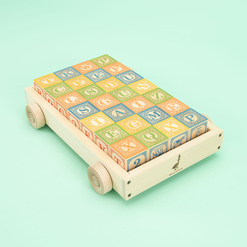 Uncle Goose Classic ABC Blocks with Wagon