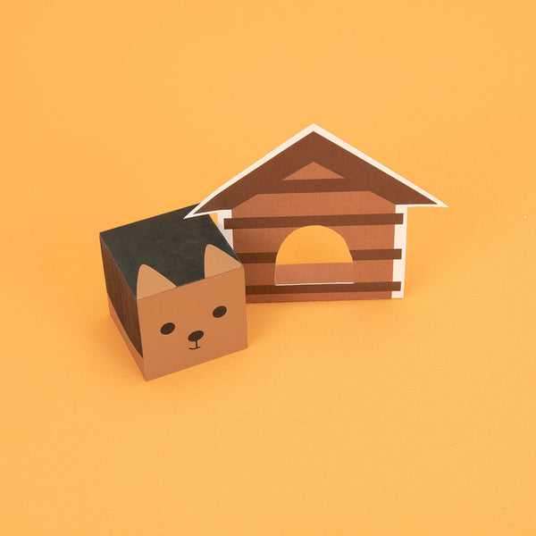 Cubelings Dog and Papercraft House