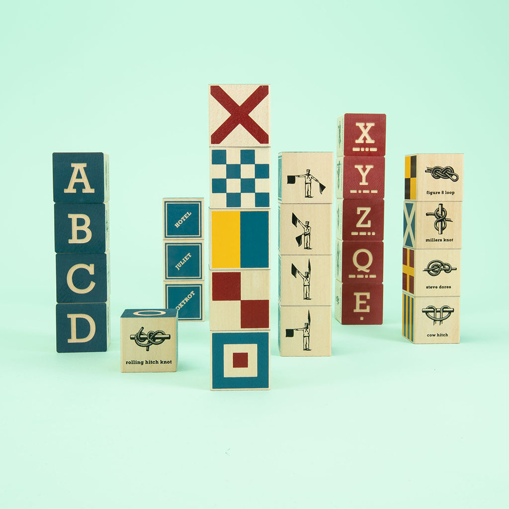 Uncle Goose Nautical ABC Blocks with Canvas Bag