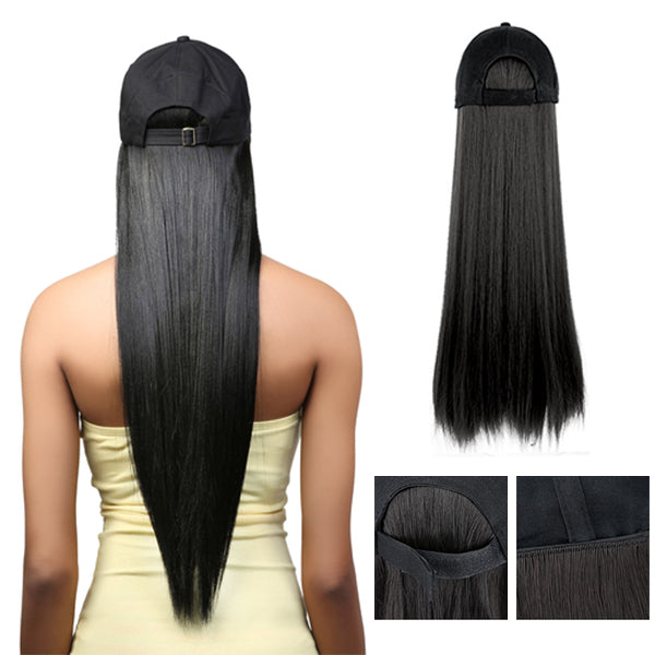 Copy of Black long straight wig hats