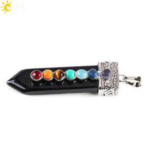 CSJA Natural Round Gem Stone Beads 7 Chakra Necklace Pendants Sword Pendulum Charms Healing Reiki Woman Men Yoga Jewellery E332