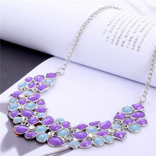 Christmas Gift Multicolor Beads Necklace Women Geometric Mosaic Stones Wild Fashion Resin Necklacefor Women Chocker Ncklace