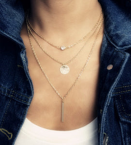 Fashion accessories jewelry New Bohemia Beach style 3 layers chain link necklace gift  for women girl wholesale N1594