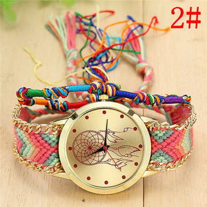 Vansvar Brand Handmade Braided Dreamcatcher Friendship Bracelet Watch Ladies Rope Watch Quarzt Watches relogio feminino 1468