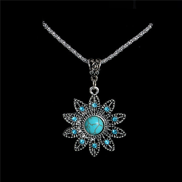 H:HYDE Natural Stone Necklaces pendants Vintage Crystal Flower Necklace jewelry statement necklace for women