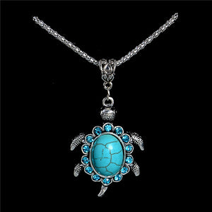 H:HYDE Nice Shipping Women Jewelry Natural Stone Rhinestone Turtle Tortoise Shaped Pendants Retro Necklaces Sweater Chain Gift