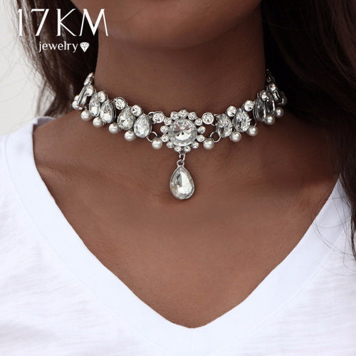 17KM Boho Collar Choker Water Drop Crystal Beads Choker Necklace &pendant Vintage Simulated Pearl Statement Beads Maxi Jewelry
