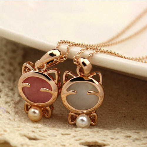 2017 Fashion Jewelry Lucky Cat Gothic Female Necklace Cat's Eye Opal Necklace Pendant Necklace Jewelry Wholesale