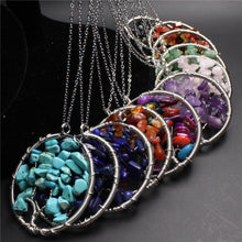 7 Chakra Reiki healing Natural Rainbow Life tree Yoga Treatment Necklace Pendant Natural Stone Pendant Necklace