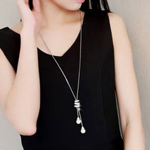 HOT Simulated Pearl Crystal Long Sweater Chain Circles Necklace Vintage Accessary Crystal Collares Statement Jewlery