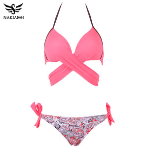 NAKIAEOI 2018  Bikini Women Swimsuit Push Up Swimwear Criss Cross Bandage Halter Bikini Set Beach Bathing Suit Swim Wear