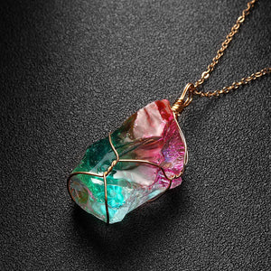 1Pc New Rainbow Stone Natural Crystal Chakra Rock Necklace Golden Plated Quartz Pendant Nice Gift For Lover Friends