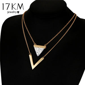 17KM V Letter Shape Triangle Stone Double Layer Geometric Pendant Necklaces Bijoux Statement Necklace Party Jewelry For Women